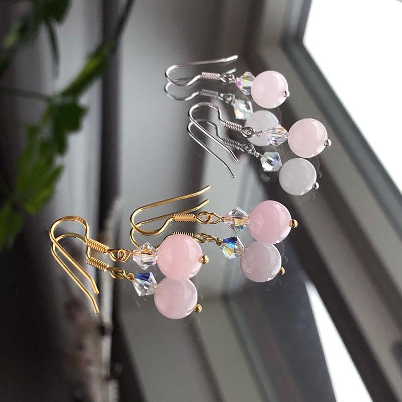 Rosakvarts øreringe - Moni Sattler