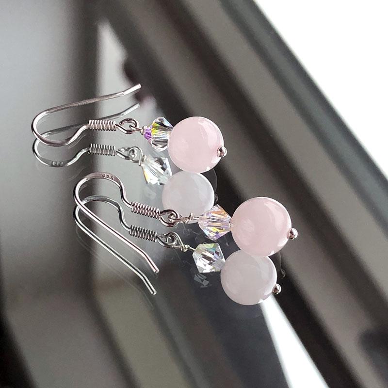 Rosakvarts øreringe sølv - Moni Sattler