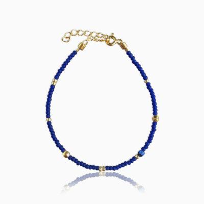 Plain armbånd blå guld - Moni Sattler