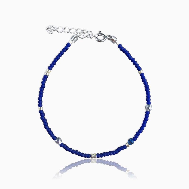 Plain armbånd blå sølv - Moni Sattler