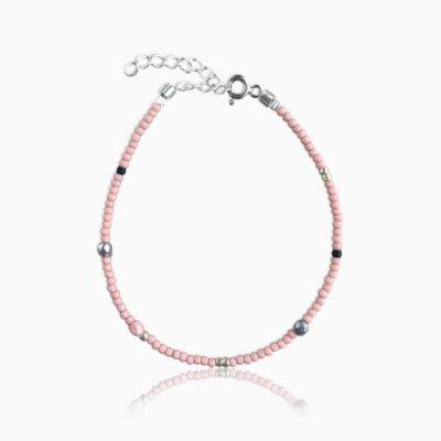 Plain armbånd pink sølv - Moni Sattler
