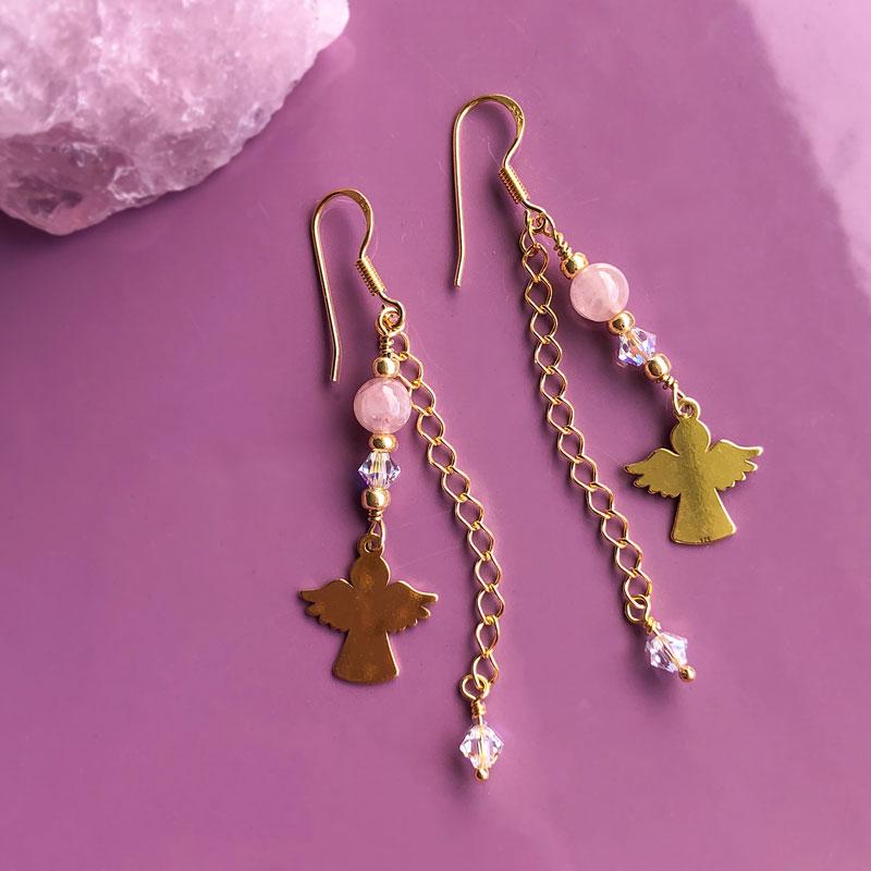 Cute øreringe med Rosakvarts forgyldt - Moni Sattler