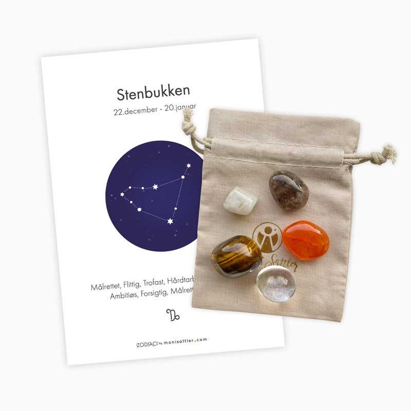 Stenbukken - Zodiaci krystal sæt - Moni Sattler